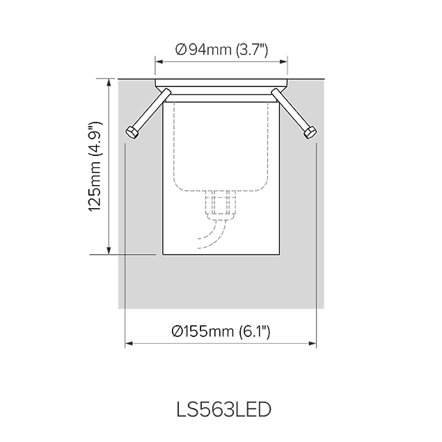 Pre-installation dimensions for LS563LED.