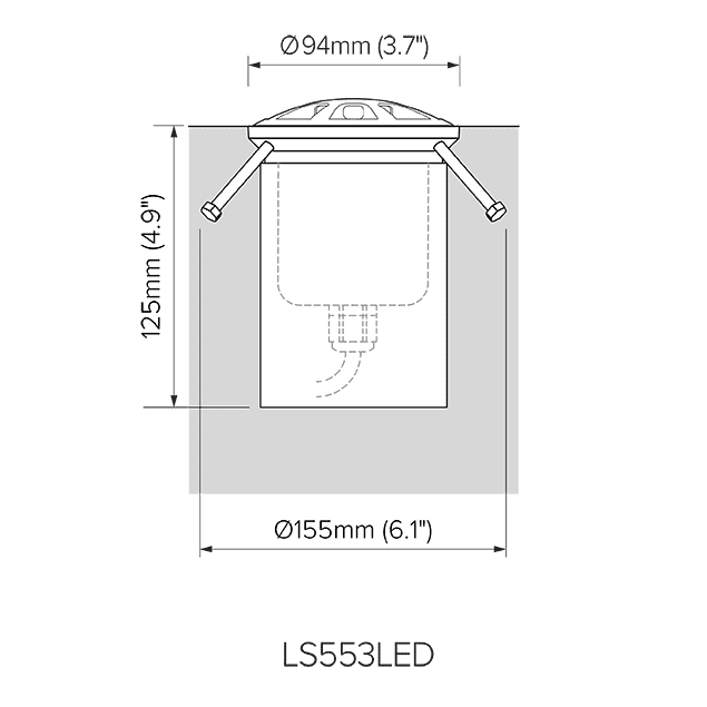 Pre-installation dimensions for LS553LED.