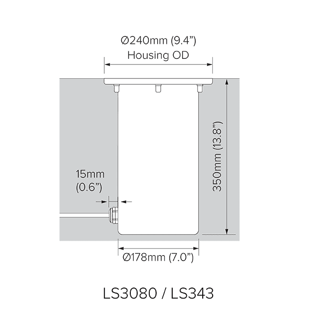 Direct burial dimensions for LS3080 and LS343.