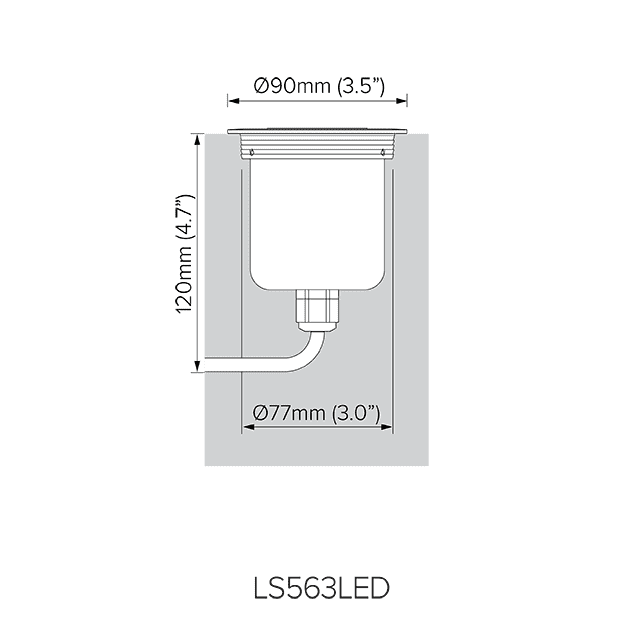 Direct burial dimensions for LS563LED.